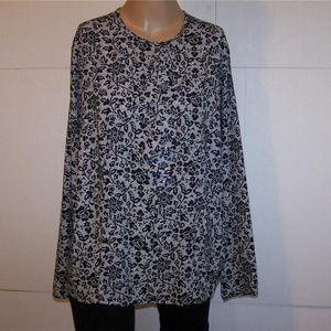 LAURA SCOTT Shirt Blouse 18W White Black Floral